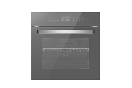 """Empava 24"""" Electric Convection Single Wall Oven 10 Cooking Functions Deluxe 360° ROTISSERIE with Sensitive Touch Control in Silver Mirror Glass, SWOC17"""