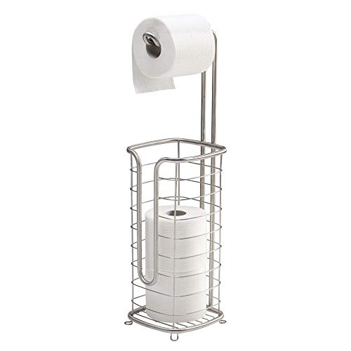 mDesign Free Standing Toilet Paper Holder Stand and Dispenser, with Storage for 3 Spare Rolls of Toilet Tissue While Dispensing 1 Roll - for Bathrooms/Powder Rooms - Holds Mega Rolls - Brushed Silver