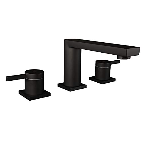 Brass Bathroom Vanity Sink Faucet 2 Handle 3 Hole Basin Widespread Deck Mount Matte Black