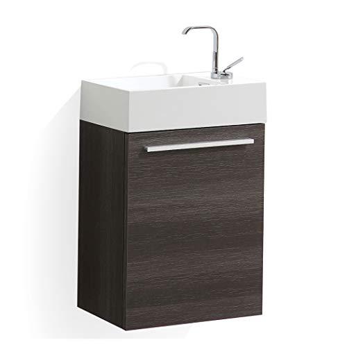 18 Inch Luxury Bathroom Vanity with Acrylic Sink (Dark Oak)