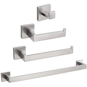 VELIMAX Premium Stainless Steel 4 Pieces Bathroom Hardware Accessories Set Wall Mounted Towel Bar Set, Brushed, 23.6-Inch