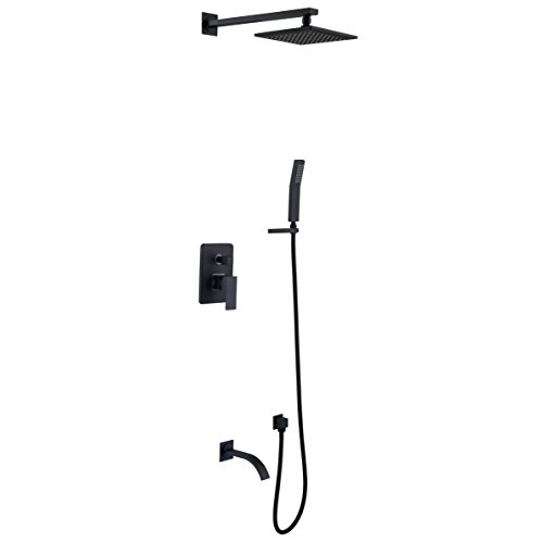 Black,Brass,Shower System with High Pressure 8 Inch Square Rainfall Shower Head,Handheld Shower Head, Tub Spout and Shower Faucet Valve, Bathroom Luxury Rain Mixer Shower Combo Set Wall Mounted