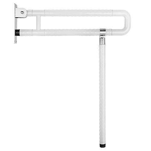 VEVOR Foldable Toilet Grab Bar Safety Frame Rails Flip-Up Skid Resistance Handicap Bathroom Seat Support Bar Toilet Hand Grips for Home Hotel Disabled Aid Pregnant Elderly R-Shape Rail (White R)