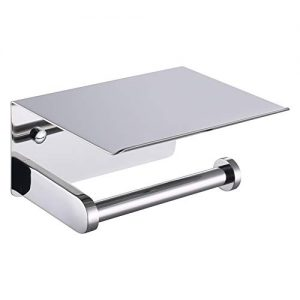 APLusee Toilet Paper Holder with Phone Shelf Polished Chrome, SUS 304 Stainless Steel Bathroom Accessories Tissue Roll Dispenser Storage Wall Mounted