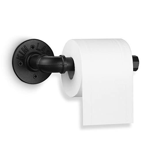 Elibbren Industrial Pipe Toilet Paper Holder, Heavy Duty DIY Vintage Rustic Iron Roll Tissue Wall Mount Paper Holder Towel Racks with Hardware for Bathroom, Kitchen, Bedroom, Hallway, 1 Pack