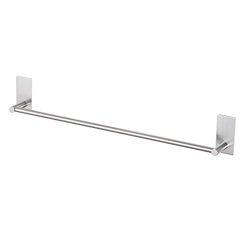 LuckIn Self Adhesive Towel Rod 24 Inch Towel Bar Stainless Steel, Stick on Wall Bath Towel Holder,No Drilling Rail Rack for Kitchen and Bathroom, Brushed Finish