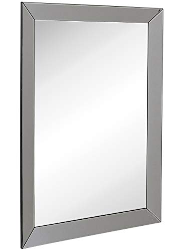 """Hamilton Hills Large Framed Wall Mirror with Smoke Gray 3 Inch Angled Beveled Mirror Frame   Vanity, Bedroom, or Bathroom   Mirrored Rectangle Hangs Horizontal or Vertical (30"""" x 40"""")"""