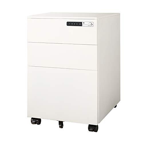 DEVAISE 3-Drawer Mobile File Cabinet with Smart Lock, Pre-Assembled Steel Pedestal Under Desk, White