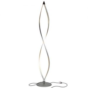Brightech Twist - Modern LED Spiral Floor Lamp for Living Room Bright Lighting - Built in Dimmer for Bedroom Ambience Or TV Soft Light - Futuristic Indoor Pole Lamp for Offices - Silver