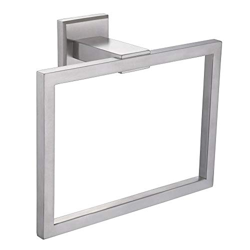 Aomasi Hand Towel Ring, SUS304 Stainless Steel Suqare Bath Towel Holder Modern Style, Brushed Nicked