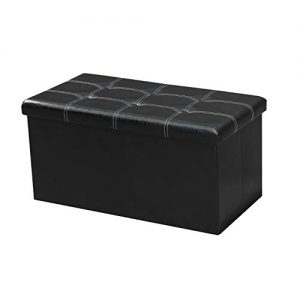 "LOKATSE HOME 30 Inches Folding Storage Ottoman Bench Footrest Seat Chest Coffee Table Toy Box, 30""x15""x15"", Black(Faux Leather)"