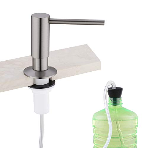 Soap Dispenser,Built in soap dispenser for kitchen sink,Tube Kit,Brushed Nickel Kitchen faucet soap dispenser,Tube Connects Directly To Soap Bottle, No More Refills