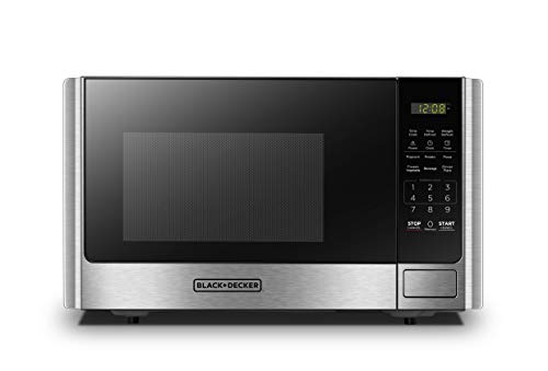 BLACK+DECKER Digital Microwave Oven with Turntable Push-Button Door,Child Safety Lock,900W,0.9 cu.ft,Stainless Steel