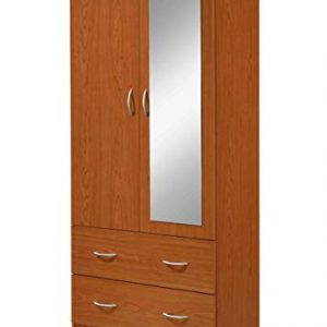 Hodedah 2-Door 2-Drawers, Mirror and Clothing Rod in Cherry Armoire