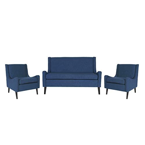Christopher Knight Home Nash Contemporary Loveseat Chat Set, Navy Blue
