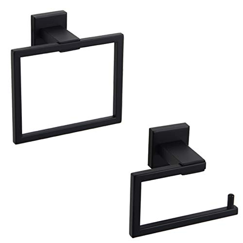 GERZ Bathroom Hardware Accessories Sets SUS304 Stainless Steel Bath Shower Set 2-Pieces(Toilet Paper Holder Towel Ring) Black Matte Finish Contemporary Style