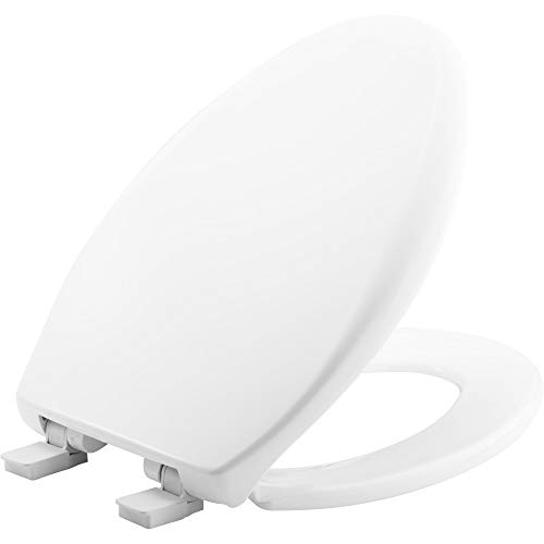 BEMIS 1200E4 000 Affinity Toilet Seat will Slow Close, Never Loosen and Provide the Perfect Fit, ELONGATED, Plastic, White