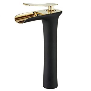 Leekayer Waterfall Faucet Tall Body Single Handle 1 Hole Mount Lavatory Bathroom Vessel Sink Faucets Black Painting Gold Chrome Hot and Cold Basin Mixer Tap Bronze Luxury