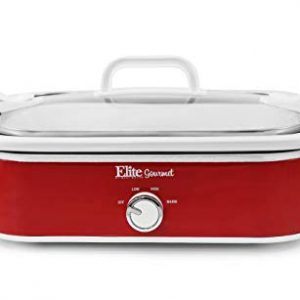 Elite Gourmet MST-5240 Crock Slow Cooker, Locking Lid Adjustable Temperature Keep Warm Oven & Dishwasher-Safe Casserole Pan, 3.5Qt Capacity, Red.