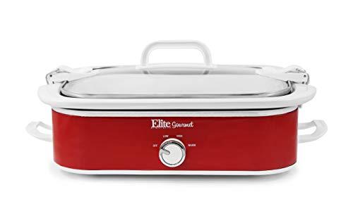 Elite Gourmet MST-5240 Crock Slow Cooker, Locking Lid Adjustable Temperature Keep Warm Oven & Dishwasher-Safe Casserole Pan, 3.5Qt Capacity, Red.