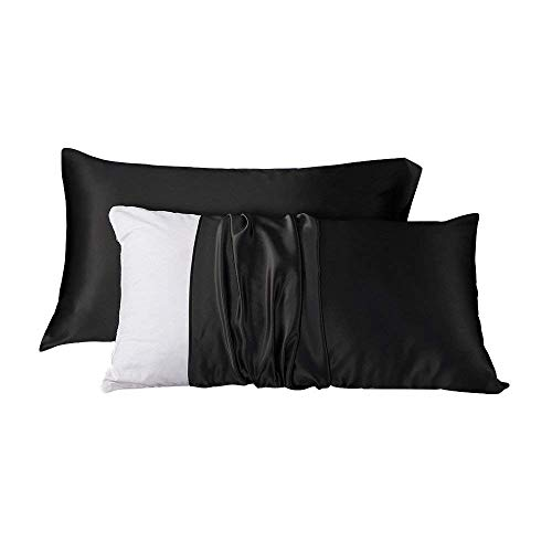 LilySilk 2pc Silk Pillowcase Set Standard Luxury Both Sides Real 19 Momme Mulberry Charmeuse Black Standard