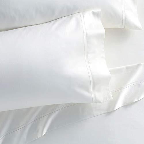 Westbrooke Linens 500 Thread Count, 100% Long-Staple Ultrafine Cotton Pleated Hem Pillowcase, Solid Sateen Weave, Oeko-Tex Certified, Wrinkle Free, Luxury Bedding Pillowcase (Standard, White)
