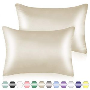 Muama Luxury Satin Pillowcases for Hair and Skin Set of 2 - Satin Pillow Cover with Hidden Zipper - Standard Size (20x26 inches) Beige