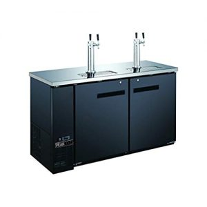 "PEAK COLD 2 Door, 4 Tap Commercial Beer Dispenser - Double Tower Keg Cooler - Kegerator; 60"" W"