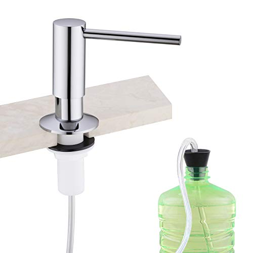 Soap Dispenser,Built in Soap Dispenser for Kitchen Sink,Tube Kit,Chrome Kitchen Soap Dispenser,Tube Connects Directly To Soap Bottle, No More Refills