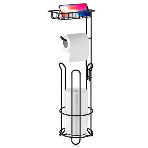 XEEX Free Standing Toilet Paper Holder with Shelf Bathroom Toilets Tissue roll Stand Milky White Black Dispenser toulet 3 Spare Rolls Storage (Matte Black)