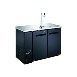 "PEAK COLD 2 Door Commercial Beer Dispenser - Double Tap Keg Cooler - Kegerator; 48"" W"