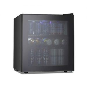 Kismile 1.6 Cu.ft Beverage Refrigerator and Cooler,60 Can Mini Fridge with Glass Door for Soda Beer or Wine,Small Drink Cooler Dispenser Counter Top Refrigerator for Home,Office,or Bar (Black)