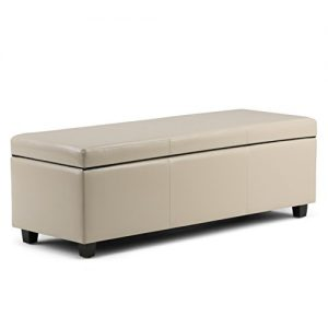 Simpli Home Avalon 48 inch Wide Rectangle Lift Top Storage Ottoman Bench in Upholstered Satin Upholstered Cream Faux Leather with Large Storage Space for the Living Room, Entryway, Bedroom