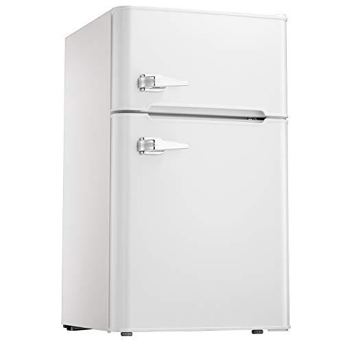 Tavata 3.2 Cu Compact Refrigerator Double Door Mini Fridge with Top Door Freezer,Small Drink Chiller for Home, Office,Dorm or RV