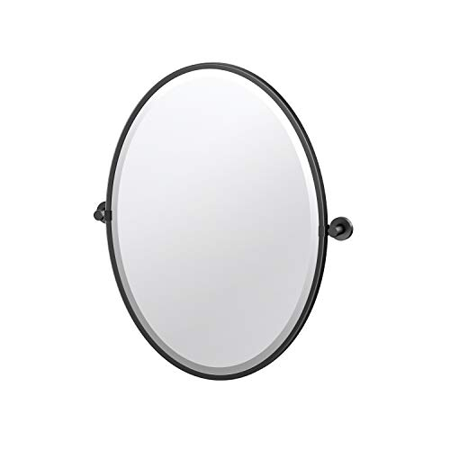 Gatco Glam Framed Oval Pivot Mirror, 27.5-inch, Matte Black