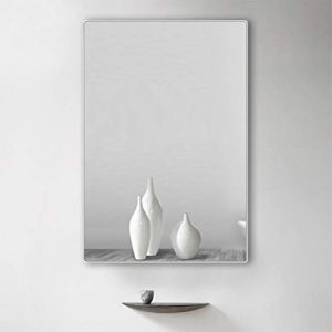 belle electrical Wall Mounted Bathroom Mirror 32x24 Inch, Modern Rectangular Metal Frame Makeup Silver Wall Mirror for Bathroom,Hanging Horizontally or Vertically