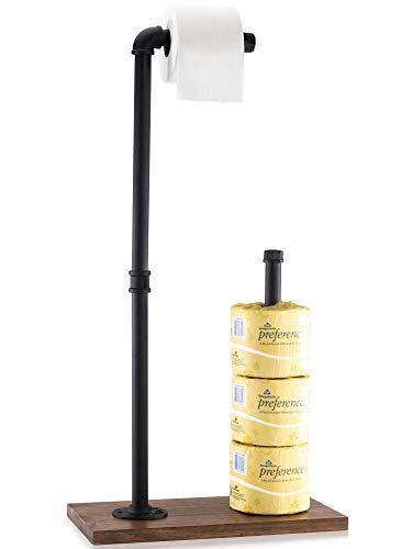 KIBAGA Rustic Toilet Paper Holder Stand - Freestanding Toilet Paper Dispenser Made of Premium Industrial Cast Iron Pipe with Solid Wooden Base - Adds The Perfect Farmhouse Touch to Your Bathroom