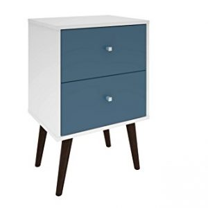 Manhattan Comfort Liberty Collection Mid Century Modern Nightstand With Two Drawers, Splayed Legs, White/Blue