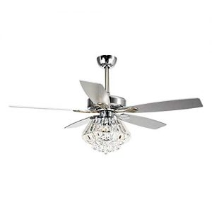 Ceiling Fans with Lights 52 Inch Ceiling Fan with Remote Crystal Chandelier Fans with 5 Reversible Blades, 3 Bulbs Not Included, Chrome