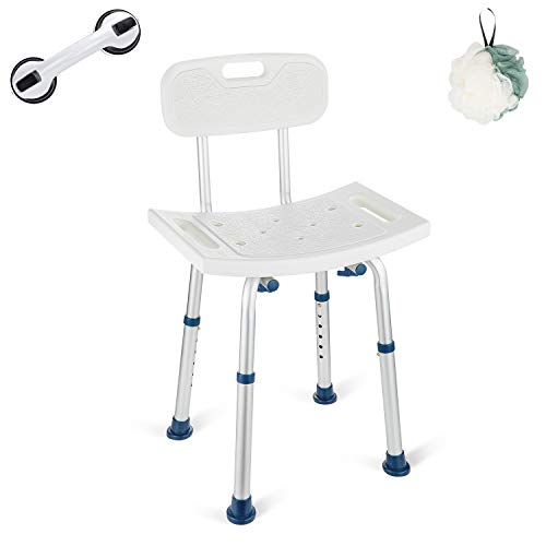 GreenChief Shower Chair with Removable Back 300lb - Heavy Duty Shower Bench with Free Grab Bar for Disabled, Seniors, Elderly & Handicap