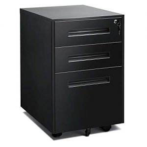 Black Mobile Filing Cabinet 3 Drawer File Cabinet with Lock Wheels Fully Assembled for Office Home Black B