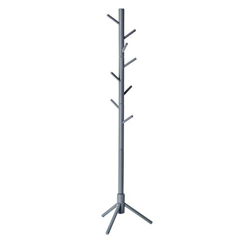 VASAGLE Coat Rack Free Standing with 8 Hooks, Solid Wood Coat Tree Entryway Organizer for Clothes, Hats, Handbags, Umbrella, Gray URCR04GY