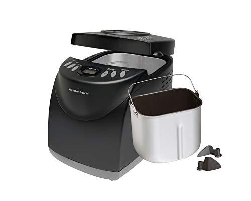 Hamilton Beach 2 lb Digital Bread Maker, Programmable, 12 Settings + Gluten Free, Dishwasher Safe Pan + 2 Kneading Paddles, Black (29882)