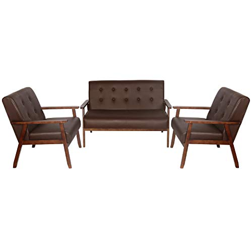 JIASTING Mid Century 1 Loveseat Sofa and 2 Accent Chairs Set Modern Wood Arm Couch and Chair Living Room Furniture Sets (8428 Brown Set)