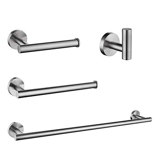 "Nolimas 4-Pieces Set Brushed Nickel Bathroom Hardware Set SUS304 Stainless Steel Round Wall Mounted - Includes 23.6""&13.5"" Towel Bar,Toilet Paper Holder, Robe Towel Hooks,Bathroom Accessories Kit"