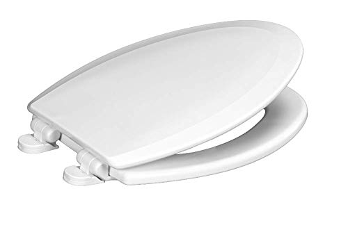 Centoco 900SC-001 Elongated Wooden Toilet Seat Featuring Safety Close, Heavy Duty Molded Wood with Centocore Technology, White
