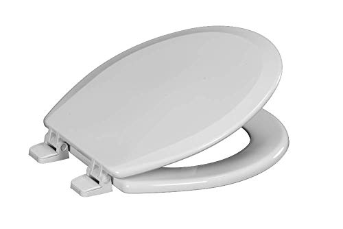 Centoco 700-001 Round Wooden Toilet Seat, Heavy Duty Molded Wood with Centocore Technology, White