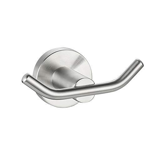 DESFAU Double Robe Hook, 304 Stainless Steel Coat and Towel Hooks for Bathroom Wall Mounted, Brushed Nickel