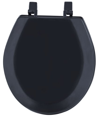 Achim Home Furnishings Black TOWDSTBK04 17-Inch Fantasia Standard Toilet Seat, Wood