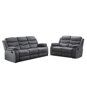 AC Pacific 2-Piece Reclining Living Room Upholstered Sofa, Set with 4, Sofa & Loveseat, Grey